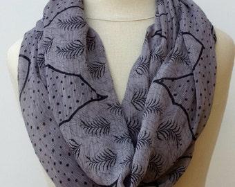 Taupe Black Infinity scarf, Loop scarf, circle scarf, handmade from Indian dupatta Eternity Ethnic hippie Boho