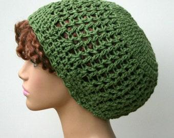 Crochet hat, Slouchy Beanie hat, Cotton beanie, Small Tam Hat rosemary green beanie, women hat