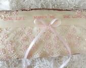 Romantic Vintage Ivory & Peachy Pink Lace-Marry Me-Pillow-OOAK