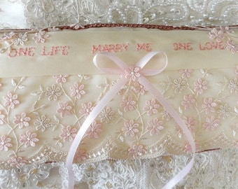 Ivory & Peachy Pink Marriage Proposal-Marry Me-Ring Pillow Lace-Me-Proposal Pillow-OOAK--Ring Bearer-Romantic-Vintage Lace