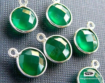 300 pcs 8mm Green Onyx 925 Sterling Silver Bezel Gemstone Charm F383S