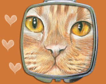 CAT COMPACT MIRROR - Orange Tabby Cat Face. Cat Mirror.