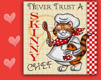 CAT SPOON REST - Cat Tile - Cat Trivet - Fat Cat - Cat Chef - Cat Lover Gift - Cat Sign - Kitchen Sign - Housewarming Gift