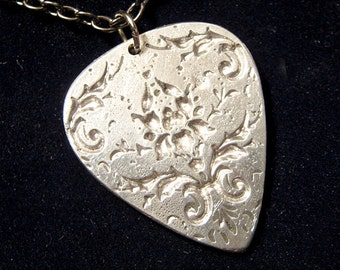 Engraved Damask Guitar Pick Necklace, hand cast, silver color pewter, lead free