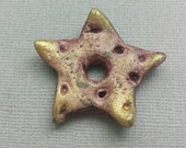 Handmade Star Pendant Bead, Polymer Clay Rustic Crackle Gold Tip Starfish