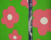 """Pink Flowers on Lime Green Fabric - 1 yard - 58"""" wide"""