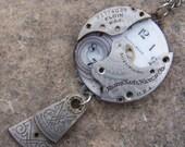 steampunk, victorian, watch parts necklace