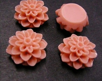 6pc Opaque Coral Resin Flower Cabochon-2570U