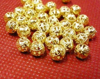 100pc 6mm gold finish iorn filigree beads-2894A