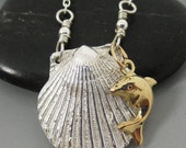 Fine Silver .999 Shell with 14kt Gold Filled Dolphin Sterling Silver Necklace