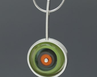 Gift for Her - Glass Drop Necklace in Tangerine, Lime, and Gray