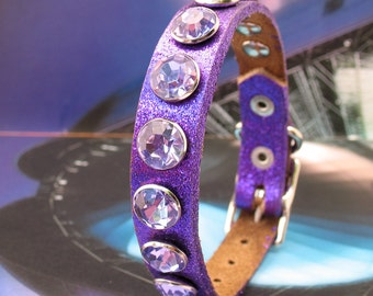 Glitter Purple Leather Dog Collar with Giant Rhinestones, Size XS, to fit a 7-9 Neck, Extra Small Dog, Eco-Friendly, Unique, OOAK