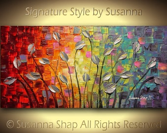 ORIGINAL Large Abstract Art Modern Texured Silver Tulips Landscape Painting Palette Knife Impasto Oil Painting by Susanna 48x24 Made2Order