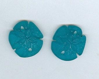 Set 2 Teal blue 21x19mm Small Sand Dollar Sea Glass Pendant Beads