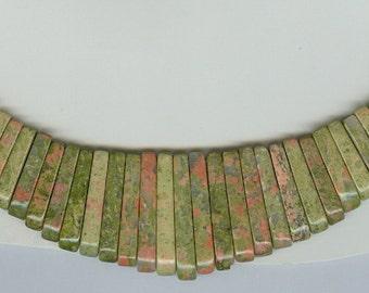 Unakite Maxi Cleopatra Graduated Collar Gemstone Fan Stick Beads 41 Piece Bead Set