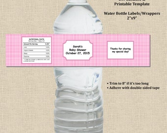 Baby Girl Shower Water Bottle Label Wrapper 2X9 - Plaid Pink - Plaque Frame - Instant Download-MS Word Printable Editable Digital Template