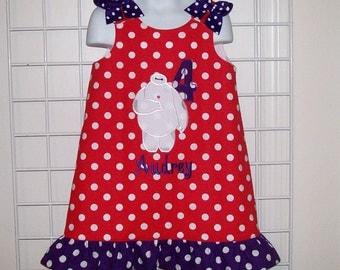 Red Dot Dress with Purple Dot Ruffle - Birthday party dress - Number Dress - girl birthday dress