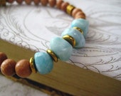 Larimar Bracelet, Blue Stones, Rare Pectolite, Larimar Nuggets, Sky Blue, Caribbean Beads, Aqua Blue, Brass Charm, Stretch Bracelet