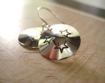 Star Earrings, Faded Stars, Sterling Silver,  Hand Stamped, Oxidized Stars, Sterling Discs,  Hand Formed Ear Wires, Womens Jewelry, July4