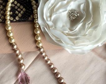 White Satin Wedding Hair Flower, Layered Satin Flower, Shiny Finish Hair Clip, Bridesmaids, Bridal Accessories, Rhinestone, Ruffled Clip