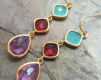 Colorful Palette Triple Glass Earrings, Mint, Ruby and Lavender, Bezel, 14K French Ear Wires