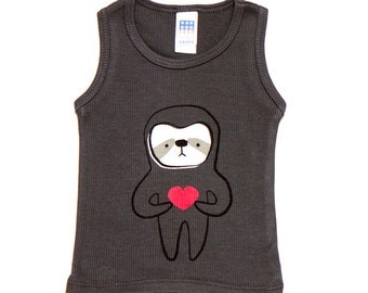 Asphalt Sloth Love Tank 3-6m to 18-24m