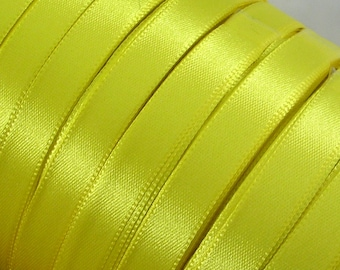 """Satin Ribbon (R23A)  Bright Yellow  3/8"""" wide - 25 Yard Spool//Crafts DIY Wedding Streamers Dreamcatchers Bows Party Decor CLOSEOUT"""