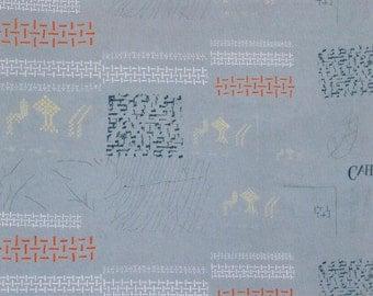 HALF YARD Yuwa - Small Motifs on Grey - Yoshiko Jinzenji - Low Volume Print - Japanese Import Fabric JZ312677