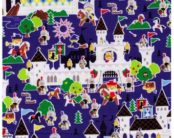 Sale (30) HALF YARD - Kingdom on Blue - Hello My Friends Collection - Push Pin Kokka - Wizard, Castle, Horseman, Drawbridge, Horse -Japanese