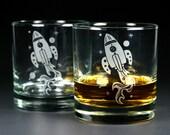 Rocket Ship Lowball Glass