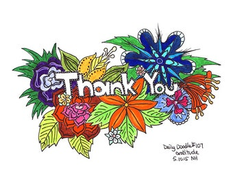 No.107 Gratitude / Original Artwork / Illustration / Daily Doodle / Art Print / Thank You / Flowers / For Mom