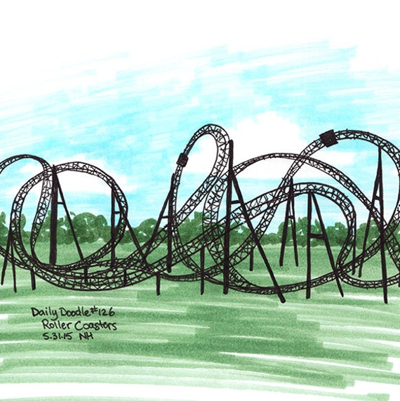 No.126 Roller Coasters / Illustration / Daily Doodle / Art