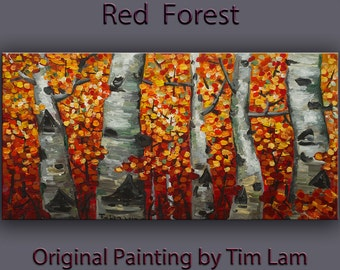 "Tree Art Lanscape Painting Original impasto 48"" Red Gray acrylic painting on gallery canvas by tim lam"