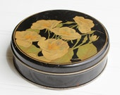 Clearance Sale - Vintage Tin with Hand Painted Dogwoods - 1940s - Black Cream Green