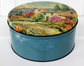Vintage Cookie Tin - Romantic Italian Scene - Seaside Setting - Blue Pink Yellow - Cottage Chic