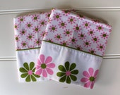 Mod Vintage Pillowcases - 1970s - Bright Green and Pink Flowers on White - Standard Size