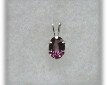 Purple Spinel 7x5mm Gemstone in 10k White Gold Pendant Necklace