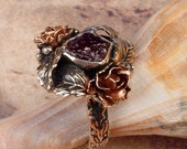 ROSE GARDEN - OOAK One Of A Kind - Rough Uncut Ruby Ring With Roses & Leaves U.S.A. Size 9