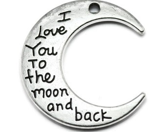 2 Moon Pendants, I love you to the moon and back, silver tone charms (H8118)