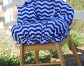 Shopping Cart Cover for Girls- Boutique Shopping Cart Cover- Royal Blue Chevron
