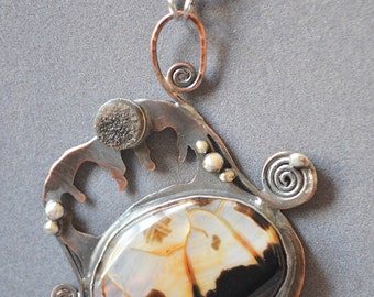 Reflecton Necklace made with one of a kind agate