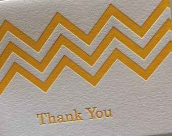 Chevron Thank You letterpress card