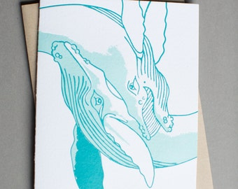 Whale, single letterpress card