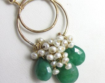 Deep Green Emerald and Freshwater Pearl Cascade Necklace in 14k Gold Fill