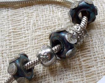 Lampwork Glass Beads by CAtalina Glass SRA 3 Big Hole Steampunk Beads
