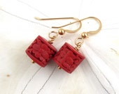Clearance Cinnabar Red Earrings, Carved Cinnabar Earrings, Gold Earrings, Carved Red Earrings, Brick Red Travel Chic Earrings, Nani