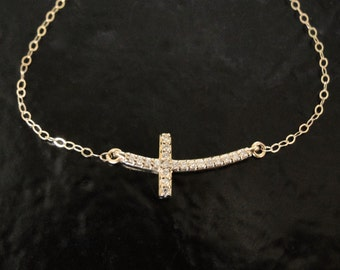 Small Diamond Sideways Cross Necklace, Curved 14K Solid Gold And Genuine Diamonds