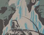 Star Wars Darth Vader and Waterfall Motif Cotton Fabric Japanese Tenugui Cloth w/Free Insured Shipping