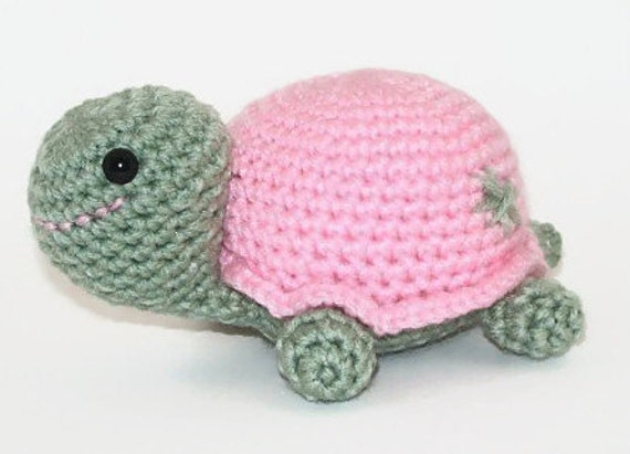 Crocheted Turtle, Pinkie the Cute Little