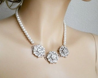 Bridal Rhinestone Necklace Wedding Pearl Crystal Statement Necklace, CHLOE